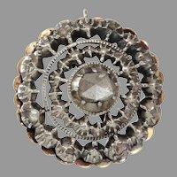Georgian Diamond Pendant   14K Yellow Gold Silver   Antique Rose
