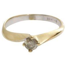 Yellow Diamond Engagement Ring   14K Gold Vintage   Round Brilliant