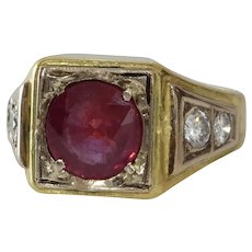 Ruby Diamond Mens Ring | 18K Bicolor Gold | Vintage Gents Israel Red