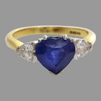 Sapphire Heart Engagement Ring | 18K Bicolor Gold Diamond | Vintage Blue