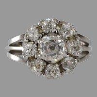 Art Deco Diamond Cluster Ring | 18KT White Gold | Vintage Cocktail