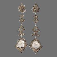 Fancy Colored Diamond Earrings   18K White Gold   Drop Chandelier