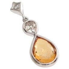 Orange Sapphire Diamond Pendant | 14K White Gold | Vintage Briolette