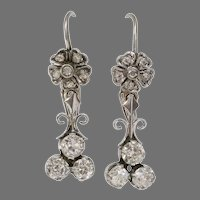 Art Deco Diamond Earrings   18K White Gold   Vintage Drop Dangle