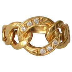 Curb Link Diamond Ring | 18K Yellow Gold | Vintage Cuban Pinky Israel