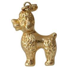 Retro Gold Dog Pendant Charm | 18K Yellow Vintage | France Poodle Puppy