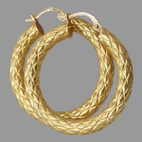 Vintage 18K Gold Hoop Earrings | Italy Estate Jewelry | Yellow Hollow