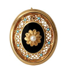 Retro Onyx Pendant Brooch   18K Gold Pearl Turquoise   Vintage Pin