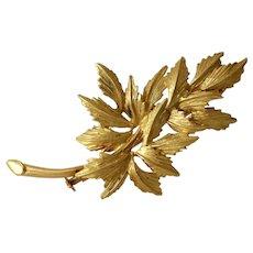 Fern Branch Gold Brooch | 18K Yellow Leaf Pin | Vintage Estate French