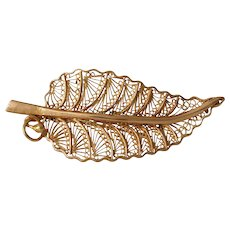 Retro Rose Gold Leaf Brooch | 18K Filigree Pin | Vintage Estate Jewelry