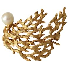 Gold Coral Branch Brooch | 18K Yellow Pearl | Vintage Pin French Estate