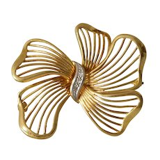 Retro Diamond Bow Brooch | 18K Gold Bicolor | Estate Vintage Pin Israel