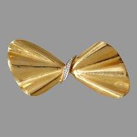 Retro Diamond Bow Brooch | 18K Gold Yellow White | Vintage Pin Israel