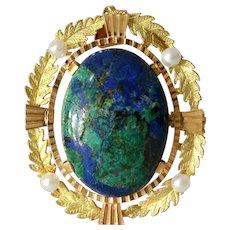 Retro Eilat Stone Pendant Brooch | 18K Yellow Gold | Vintage Pearl Pin