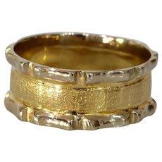 Modernist Bicolor Gold Ring | 14K Thick Band | Vintage Retro Israel