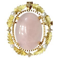Retro Rose Quartz Pendant Brooch | 18K Gold Diamond | Pearl Vintage