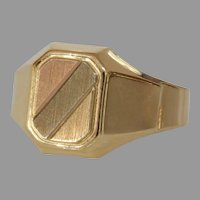 Mens Retro Signet Ring   14K Gold Tricolor   Vintage Rectangular Italy