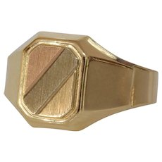 Mens Retro Signet Ring | 14K Gold Tricolor | Vintage Rectangular Italy