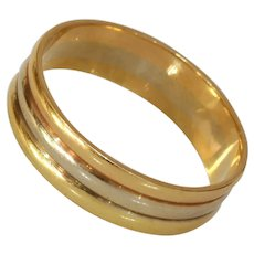 Three Tone Thick Band Ring | 18K Gold Mens Triple | Tricolor Vintage