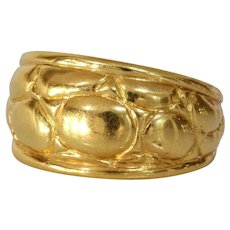 Modernist Thick Band Gold Ring | 18K Yellow Retro | Vintage Estate