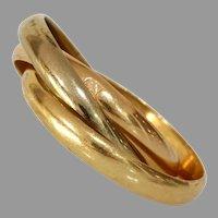 Retro Triple Band Gold Ring   18K Three Tone   Tricolor Multi Band