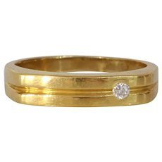 Vintage Diamond Gold Mens Ring | 18K Yellow Rectangle | Solitaire Band