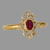 Art Deco Ruby Engagement Ring | 18K Yellow Gold Diamond | Vintage