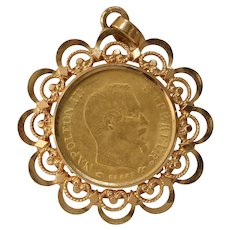 Napoleon III Gold Coin Pendant | 10 Franc 1859 | 18K Filigree Antique