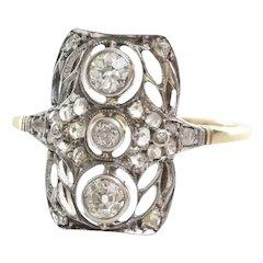 Art Deco Diamond Panel Ring | 14 Yellow White Gold | Vintage Plaque