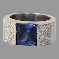 Sapphire Diamond Mens Ring | 18K White Gold Band | Vintage Blue Gents