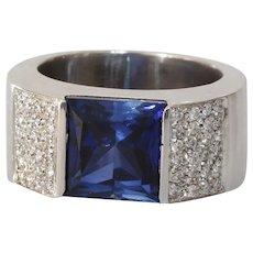 Sapphire Diamond Mens Ring | 18K White Gold Band | Vintage Blue Gents