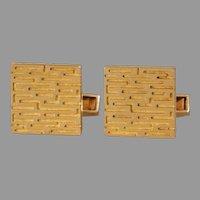 Retro Square Gold Cufflinks | 18K Yellow Modernist | Vintage Mens Jewelry