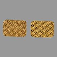 Retro Rectangular Gold Cufflinks | 18K Yellow Vintage | Estate Jewelry