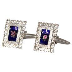 Retro Ruby Enamel Gold Cufflinks | 18K White Rectangle | Mens Jewelry