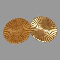Retro Round Gold Cufflinks | 18K Yellow Vintage | French Estate Jewelry