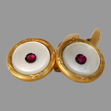 Art Deco Mother of Pearl Cufflinks | 18K Yellow Gold Ruby | Vintage