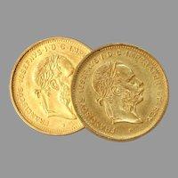 Franz Joseph I Gold Coin Cufflinks | 10 Francs 21K | 4 Florins Vintage