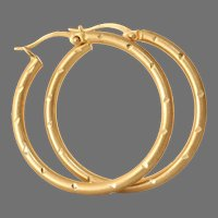 Vintage 14K Gold Hoop Earrings | Israel Estate Jewelry | Yellow Hollow