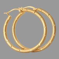 Vintage 14K Gold Hoop Earrings | Israel Estate Jewelry | Yellow Hollow