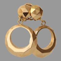 Retro Dangle Hoop Earrings   18K Rose Gold Modernist   Vintage Round