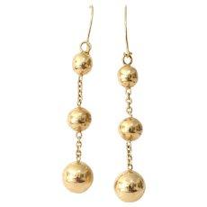 Gold Ball Dangle Earrings | 14K Yellow Drop | Vintage Estate Jewelry