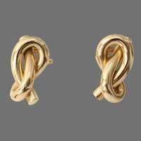 Infinity Knot Gold Drop Earrings   14K Yellow Vintage   Love Bowen