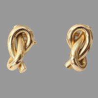 Infinity Knot Gold Drop Earrings | 14K Yellow Vintage | Love Bowen