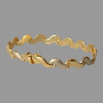 Wave Pattern Gold Bracelet | 18K Yellow White Link | Vintage Estate