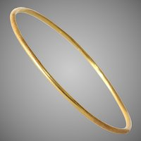 Vintage 18K Yellow Gold Bangle | Bracelet Polished Brushed | Jewelry