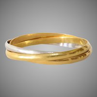 Multi Band Bicolor Gold Bangle | 18K Yellow White Bracelet | Vintage