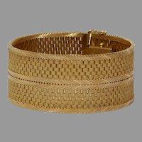Retro Thick Gold Bracelet   18K Yellow Wide Box Link   Vintage Jewelry