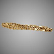 Vintage Double Curb Link Chain Bracelet   18K Yellow Gold   Gourmette