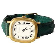 Vintage Jaeger LeCoultre Mens Watch | 18K Yellow Gold | 1970s Retro Wrist