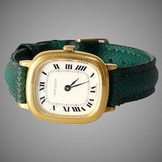 Vintage Jaeger LeCoultre Mens Watch   18K Yellow Gold   1970s Retro Wrist